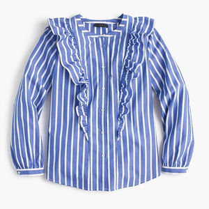 J. Crew Petite Striped Ruffle Button Up Shirt